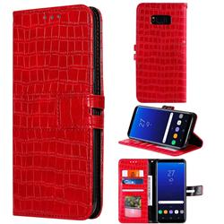 Luxury Crocodile Magnetic Leather Wallet Phone Case for Samsung Galaxy S8 - Red