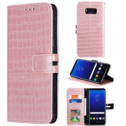 Luxury Crocodile Magnetic Leather Wallet Phone Case for Samsung Galaxy S8 - Rose Gold