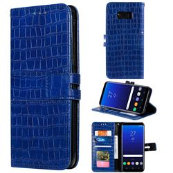 Luxury Crocodile Magnetic Leather Wallet Phone Case for Samsung Galaxy S8 - Blue