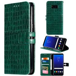 Luxury Crocodile Magnetic Leather Wallet Phone Case for Samsung Galaxy S8 - Green