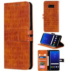 Luxury Crocodile Magnetic Leather Wallet Phone Case for Samsung Galaxy S8 - Brown