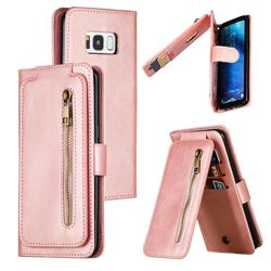 Multifunction 9 Cards Leather Zipper Wallet Phone Case for Samsung Galaxy S8 - Rose Gold