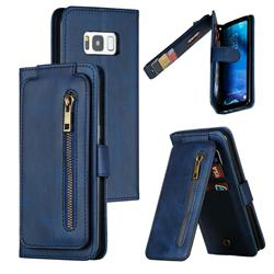 Multifunction 9 Cards Leather Zipper Wallet Phone Case for Samsung Galaxy S8 - Blue