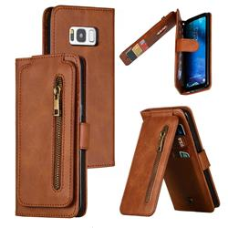 Multifunction 9 Cards Leather Zipper Wallet Phone Case for Samsung Galaxy S8 - Brown