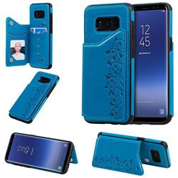 Yikatu Luxury Cute Cats Multifunction Magnetic Card Slots Stand Leather Back Cover for Samsung Galaxy S8 - Blue