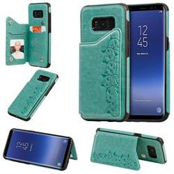 Yikatu Luxury Cute Cats Multifunction Magnetic Card Slots Stand Leather Back Cover for Samsung Galaxy S8 - Green