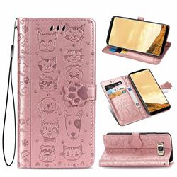 Embossing Dog Paw Kitten and Puppy Leather Wallet Case for Samsung Galaxy S8 - Rose Gold