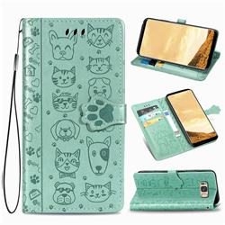 Embossing Dog Paw Kitten and Puppy Leather Wallet Case for Samsung Galaxy S8 - Green