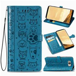 Embossing Dog Paw Kitten and Puppy Leather Wallet Case for Samsung Galaxy S8 - Blue
