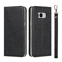 Ultra Slim Magnetic Automatic Suction Silk Lanyard Leather Flip Cover for Samsung Galaxy S8 - Black