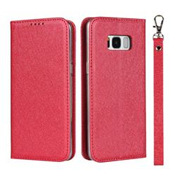 Ultra Slim Magnetic Automatic Suction Silk Lanyard Leather Flip Cover for Samsung Galaxy S8 - Red