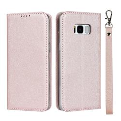 Ultra Slim Magnetic Automatic Suction Silk Lanyard Leather Flip Cover for Samsung Galaxy S8 - Rose Gold