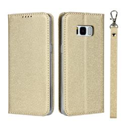 Ultra Slim Magnetic Automatic Suction Silk Lanyard Leather Flip Cover for Samsung Galaxy S8 - Golden