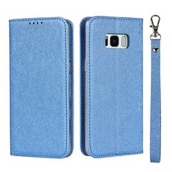 Ultra Slim Magnetic Automatic Suction Silk Lanyard Leather Flip Cover for Samsung Galaxy S8 - Sky Blue
