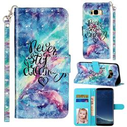 Blue Starry Sky 3D Leather Phone Holster Wallet Case for Samsung Galaxy S8