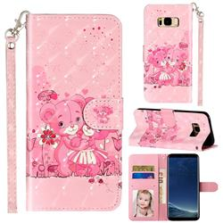 Pink Bear 3D Leather Phone Holster Wallet Case for Samsung Galaxy S8