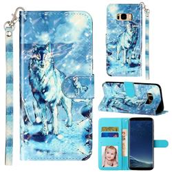 Snow Wolf 3D Leather Phone Holster Wallet Case for Samsung Galaxy S8