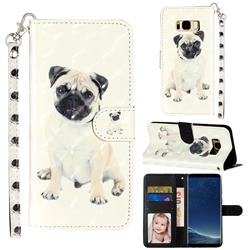 Pug Dog 3D Leather Phone Holster Wallet Case for Samsung Galaxy S8