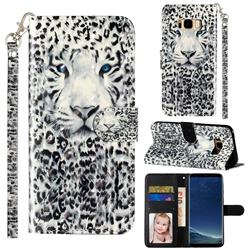 White Leopard 3D Leather Phone Holster Wallet Case for Samsung Galaxy S8