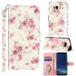 Rambler Rose Flower 3D Leather Phone Holster Wallet Case for Samsung Galaxy S8