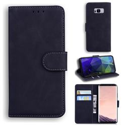 Retro Classic Skin Feel Leather Wallet Phone Case for Samsung Galaxy S8 - Black