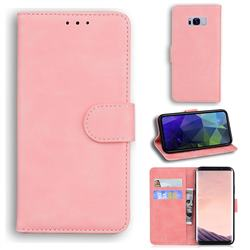 Retro Classic Skin Feel Leather Wallet Phone Case for Samsung Galaxy S8 - Pink