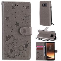 Embossing Bee and Cat Leather Wallet Case for Samsung Galaxy S8 - Gray