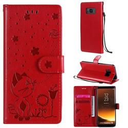 Embossing Bee and Cat Leather Wallet Case for Samsung Galaxy S8 - Red