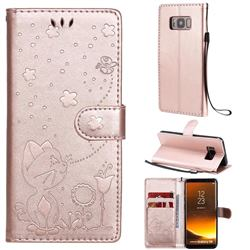 Embossing Bee and Cat Leather Wallet Case for Samsung Galaxy S8 - Rose Gold