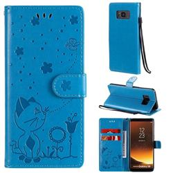 Embossing Bee and Cat Leather Wallet Case for Samsung Galaxy S8 - Blue