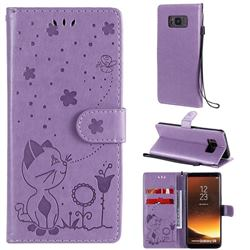 Embossing Bee and Cat Leather Wallet Case for Samsung Galaxy S8 - Purple