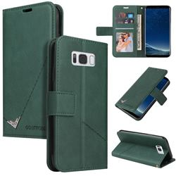 GQ.UTROBE Right Angle Silver Pendant Leather Wallet Phone Case for Samsung Galaxy S8 - Green