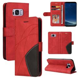 Luxury Two-color Stitching Leather Wallet Case Cover for Samsung Galaxy S8 - Red