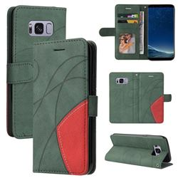 Luxury Two-color Stitching Leather Wallet Case Cover for Samsung Galaxy S8 - Green