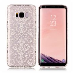 White Lace Flowers Super Clear Soft TPU Back Cover for Samsung Galaxy S8 Plus S8+