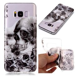 Black Flower Skull Super Clear Soft TPU Back Cover for Samsung Galaxy S8 Plus S8+