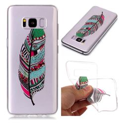 Green Feathers Super Clear Soft TPU Back Cover for Samsung Galaxy S8 Plus S8+
