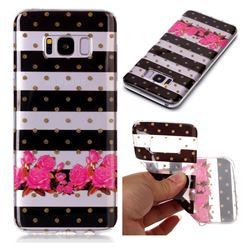 Striped Flowers Super Clear Soft TPU Back Cover for Samsung Galaxy S8 Plus S8+