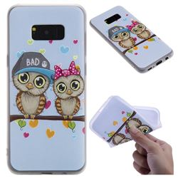 Couple Owls 3D Relief Matte Soft TPU Back Cover for Samsung Galaxy S8 Plus S8+