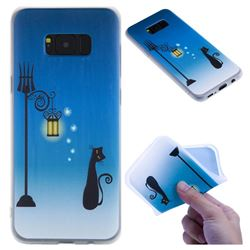 Street Light Cat 3D Relief Matte Soft TPU Back Cover for Samsung Galaxy S8 Plus S8+