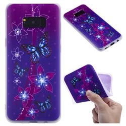Butterfly Flowers 3D Relief Matte Soft TPU Back Cover for Samsung Galaxy S8 Plus S8+
