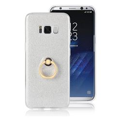 Luxury Soft TPU Glitter Back Ring Cover with 360 Rotate Finger Holder Buckle for Samsung Galaxy S8 Plus S8+ - White