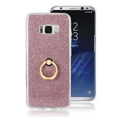 Luxury Soft TPU Glitter Back Ring Cover with 360 Rotate Finger Holder Buckle for Samsung Galaxy S8 Plus S8+ - Pink