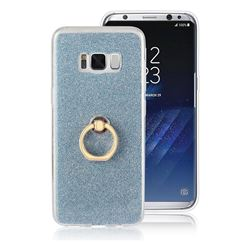 Luxury Soft TPU Glitter Back Ring Cover with 360 Rotate Finger Holder Buckle for Samsung Galaxy S8 Plus S8+ - Blue