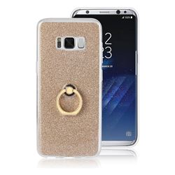 Luxury Soft TPU Glitter Back Ring Cover with 360 Rotate Finger Holder Buckle for Samsung Galaxy S8 Plus S8+ - Golden