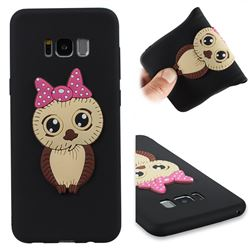 Bowknot Girl Owl Soft 3D Silicone Case for Samsung Galaxy S8 Plus S8+ - Black
