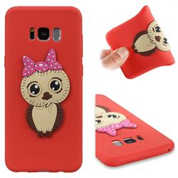 Bowknot Girl Owl Soft 3D Silicone Case for Samsung Galaxy S8 Plus S8+ - Red