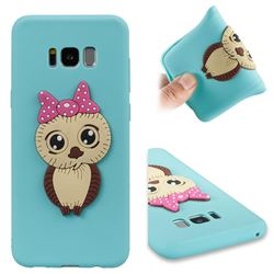 Bowknot Girl Owl Soft 3D Silicone Case for Samsung Galaxy S8 Plus S8+ - Sky Blue