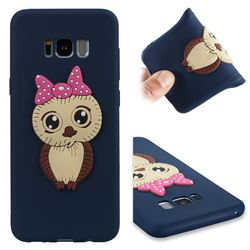 Bowknot Girl Owl Soft 3D Silicone Case for Samsung Galaxy S8 Plus S8+ - Navy