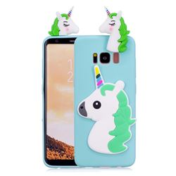 Unicorn Soft 3D Silicone Case for Samsung Galaxy S8 Plus S8+ - Baby Blue